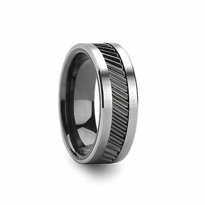 Gear Teeth Pattern Black Ceramic and Tungsten Ring