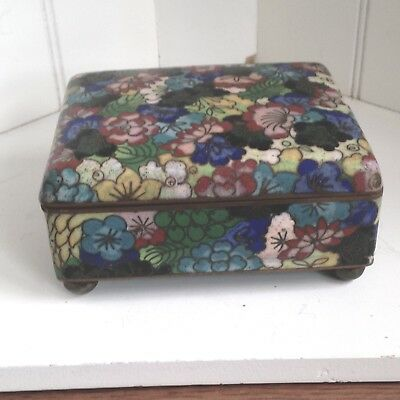 Antique Chinese Cloisonne Enamel Floral Footed, Hinged Box