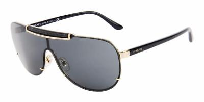 1fdf838d6d9 NEW Authentic VERSACE Sunglasses VE 2140 1002 87 Gold Frame Dark Grey Lens