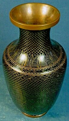 ANTIQUE CHINESE CLOISONNE BLACK ENAMEL VASE with GILDED FISH SCALE CLOISONS