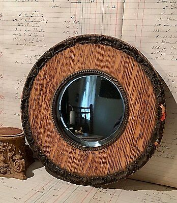 Antique Victorian Round Oak Gesso Wall Hanging Shaving Mirror * Beveled Glass