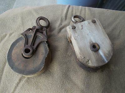 Antique Vintage Cast Iron And Wood Barn Pulley pullies