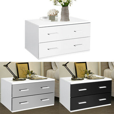 60cm Width Bedroom Nightstand Bed Side Tables Cabinets Bedside 2 Drawers Storage