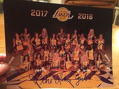 2017-2018 LAKER GIRLS HAND SIGNED 8.5x11 COLOR PHOTO -new!