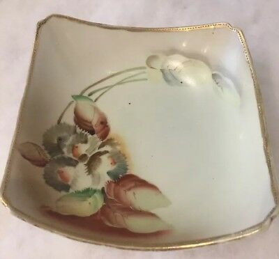 ATQ Handpainted CANDY DISH, Edges Curved Inward, Flowers , GOLD TRIM