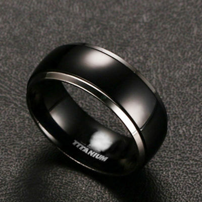 Men's 8mm Stainless Steel Black Gold Band Ring Women Wedding Engagement Jewelry