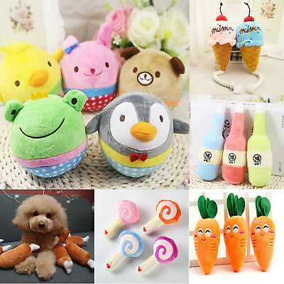 Plush Dog Cat Puppy Pet Squeaker Toy Chew Sound Squeaky Play Fetch Training Toys
