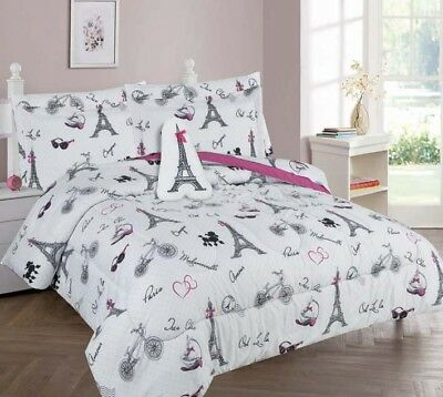 White Black Pink Paris Eiffel Tower Complete Bed Comforter set For Girls/Teens