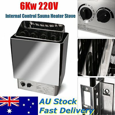 AU 220V 6KW Sauna Heater Stove Wet 0~80℃ & Internal Control Dry Stainless Steel