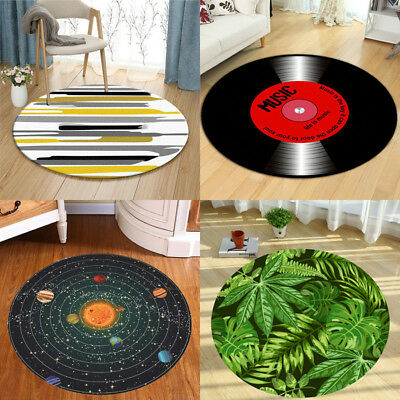 Round Floor Mat Tropical Watercolor Palm Leaves Vinyl Record  Room Area Rugs