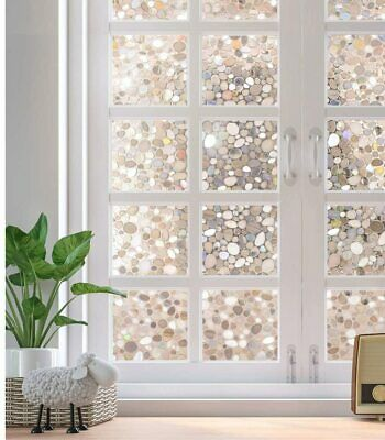 "Rabbitgoo privacy window film 3D pebble static cling 17.7""x78.7""(45x200cm)"