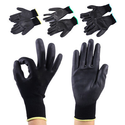 Black 12 Pairs PU Nylon Safety Coating Work Gloves Builders Palm Protect S M L