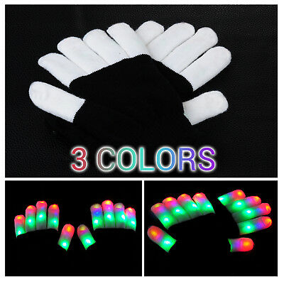 Bunte LED Handschuhe Leuchtenden Coole Spielzeuge Gloves Party Halloween Club DE