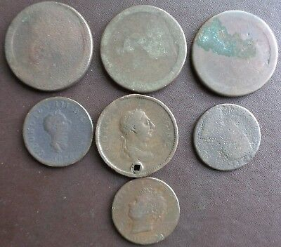 Job Lot of 7 Old Copper Coins Ref 10