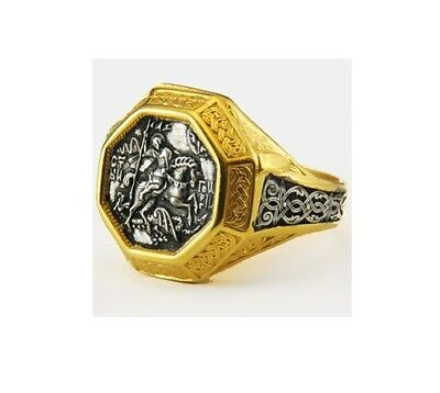 Byzantine St. George Gold-Plated Silver Sterling 925 Christian Ring 16gr