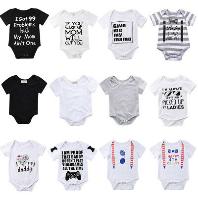 UK Infant Baby Boys Girls Romper Jumpsuit Toddler Summer Clothes Outfits