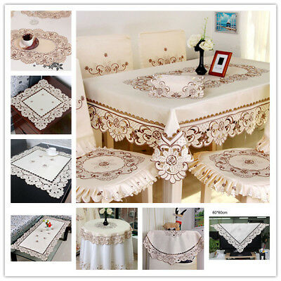 White Embroidery Lace Tablecloth Dinner Table Cloth/Cover Wedding Party  Decor