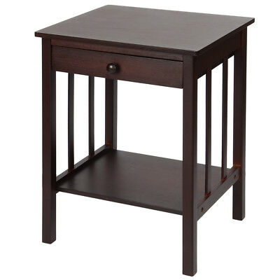 Sortwise® Bamboo Night Stand Drawer &Shelf Storage End Side Table Home Furniture