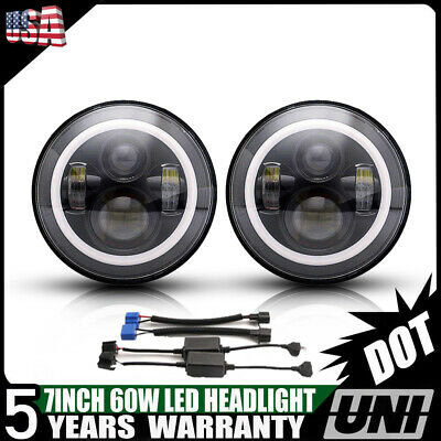 "For Hummer H1 H2 H3 H3T 7""Inch LED Round Headlight Halo HeadLamp DRL Hi/Lo 2Pcs"