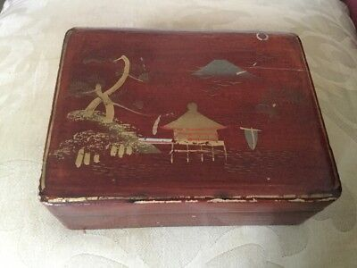 Japanese Cigarette Box 1920s/30s Landscape,Boat & Pagoda On A Red Ground