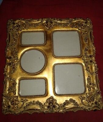 💕Vintage  5-PICTURE FRAME~Gold/GILT RED Accents~Velvet Back~ Stand-Up Eisel  💕