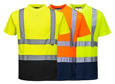 Portwest Two Tone T-Shirt Hi Vis Breathable Wicking Safety Work Summer S378