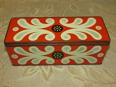 """Vintage W. & R. Jacob & Co. Biscuit """" Red Lacquer """" Tin"""