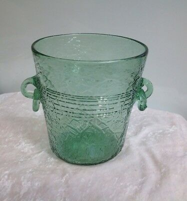 Gorgeous Unique Hand Blown Green Glass Ice Bucket Bar Man Cave Wine Champagne