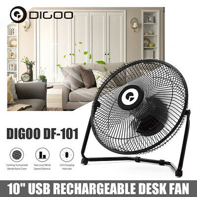 Digoo DF-101 10'' Rotatable USB Rechargeable Cooling Cool Desk Fan 18650 Battery