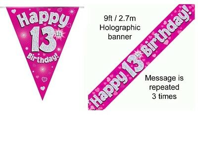 Pink Age 13 Happy 13th Birthday Party Decorations Banners Bunting