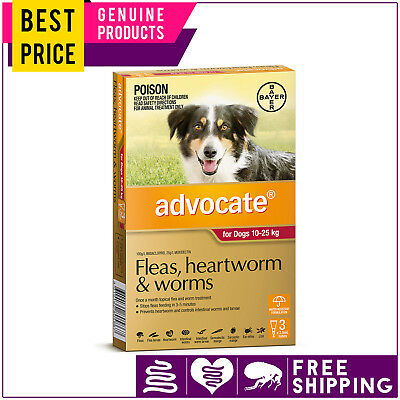 ADVOCATE Dogs Flea Heartworm Worm Control 10 to 25 Kg RED 3 Doses