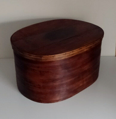 Large French Antique Bentwood Oval Hat/Storage Box -Woodenware Boxes