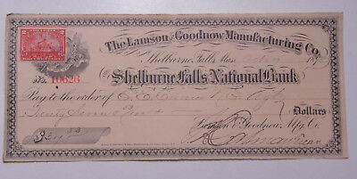 1898 Lamson Goodnow Check Shelburne Falls 2c Stamp EE Currier Ephemera C28-283