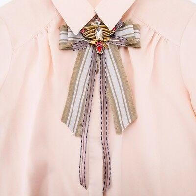 New Vintage Exaggerated Cool Beaded Crystal Bee Fabric Brooch Lace Fancy Tie