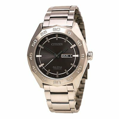 Citizen AW0060-54H Men's Super Titanium Eco-Drive Charcoal Grey Dial Titan Watch