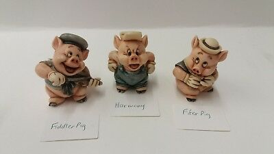 Harmony Kingdom Disney Three Little Pigs Fiddle, Fifer & Practical Complete Set