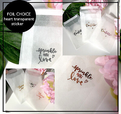 Glassine bags & transparent foil  heart stickers confetti sprinkle love Throw Me