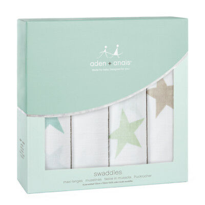 Aden & Anais Super Star Scout 4 Pack Classic 120cm Swaddles