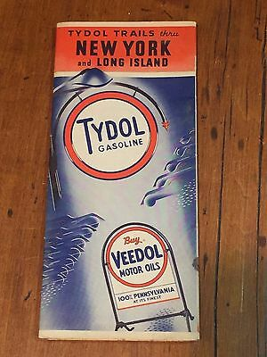 Antique Vintage Tydol Trails Advertising Road Map NY State + Long Island c. 1939