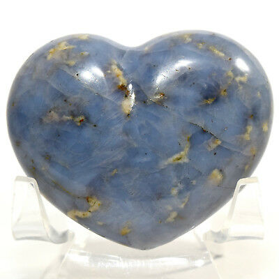 58mm Blue Dumortierite Quartz Heart Natural Sparkling Crystal Mineral Madagascar