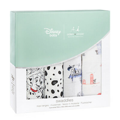 Aden & Anais Disney Collection 101 Dalmatians 4 Pack Classic 120cm Swaddles