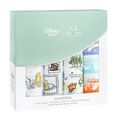 Aden & Anais Disney Collection Winnie The Pooh 4 Pack Classic 120cm Swaddles