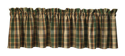 New Primitive Rustic Lodge Cabin Green Brown SCOTCH PINE PLAID Curtain Valance