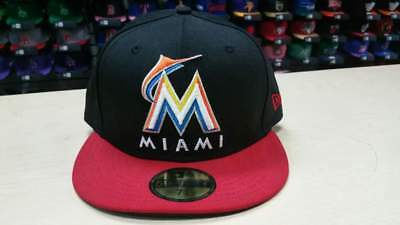 best website 2175b aae76 New Era MLB Miami Marlins Team Name and Logo 2 Tone Black 59FIFTY Cap Hat  NewEra