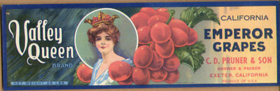 Vintage Lot of 10 The Same Valley Queen  Emperor Grape Fruit Crate Labels