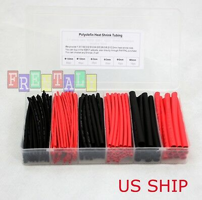 190pcs Cable Heat Shrink Tubing Sleeve Wire Wrap Tube 2:1 Assortment Kit Box Set