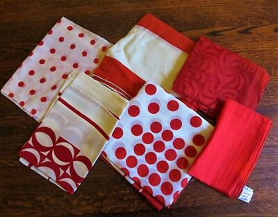 Lot of 6 Vintage Scarves, Hand Rolled Silk, Polka Dots, Made in Italy, Sheers