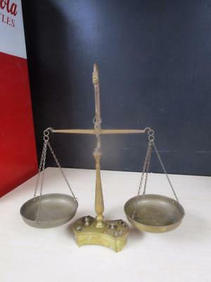 Antique Brass Scale Balance Rare With Weights Attached At Base