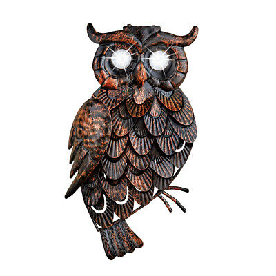 Rustic Owl Solar Lighted Metal Outdoor Wall Art Decoration