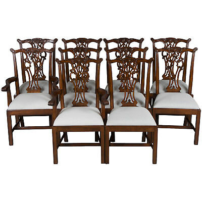 New Antique Style Set of Ten Carved Mahogany Dining Room Chairs Chippendale FS!